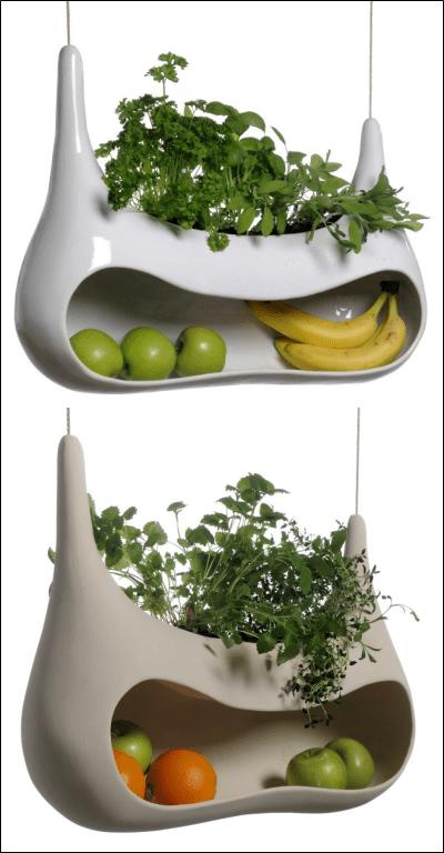 Cocoon hybrid planter-storage shell by Måns Salomonsen