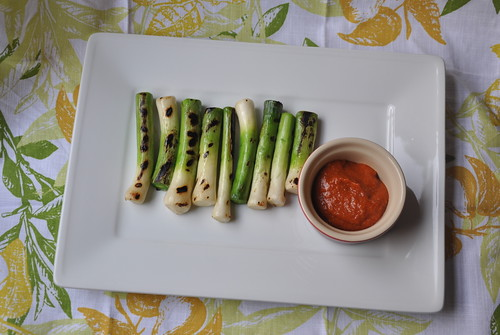 Grilled Baby Leeks and Romesco Sauce