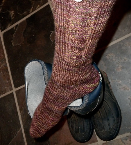 Simple cabled sock in Tempted Yarn