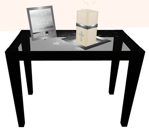 Framed   Black Abyss Side Table, Diamond Cross Candle and picture frame
