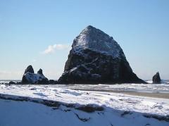 Jan. 07 snowy rock and beach