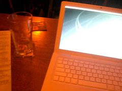 pint and computer at horse brass