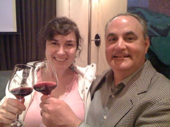 Hester Creek winemaker Rob Summers with Marie Hebrard