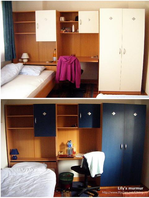 我們在Room4Young的房間,床沒有放在一起,一人一邊,很像學生宿舍。XD