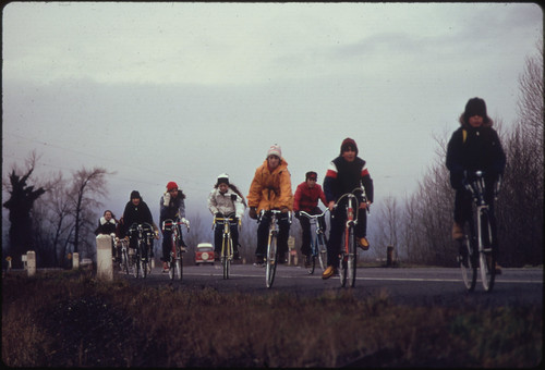 School Children, Were Forced to Use Their Bicycles on Field Trips During the Fuel Crisis in the Winter of 1974. There Was Not Enough Gasoline for School Buses to Be Used for Extracurricular Activities, Even During Dark and Rainy Weather 02/1974