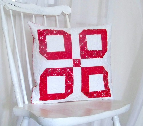 Red White Moder Cottage Style Patchwork Quilted Pillow Sham