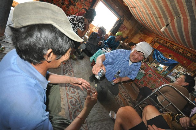 Toasting in Mongolia