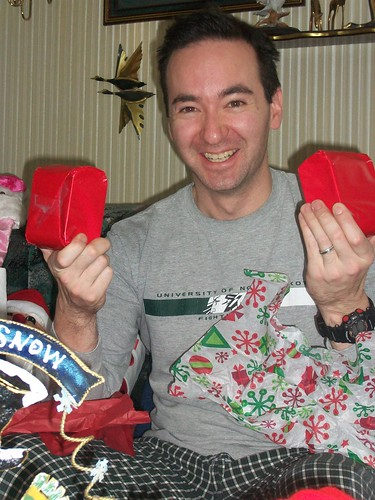 Bryan with wrapped cans of SPAM