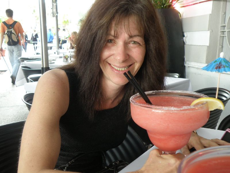 Carol with strawberry margarita