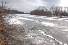 Charles River, 3 February 2010: Thicker ice ag...