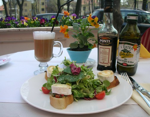Yummy Chevre salad with honey mustard vinegrette and latte