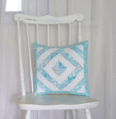 Light Blue and White cottage quilted pillow