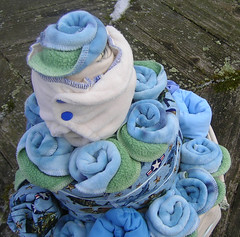 I Dream In Green Cloth Diaper Cake - Blue Air Force