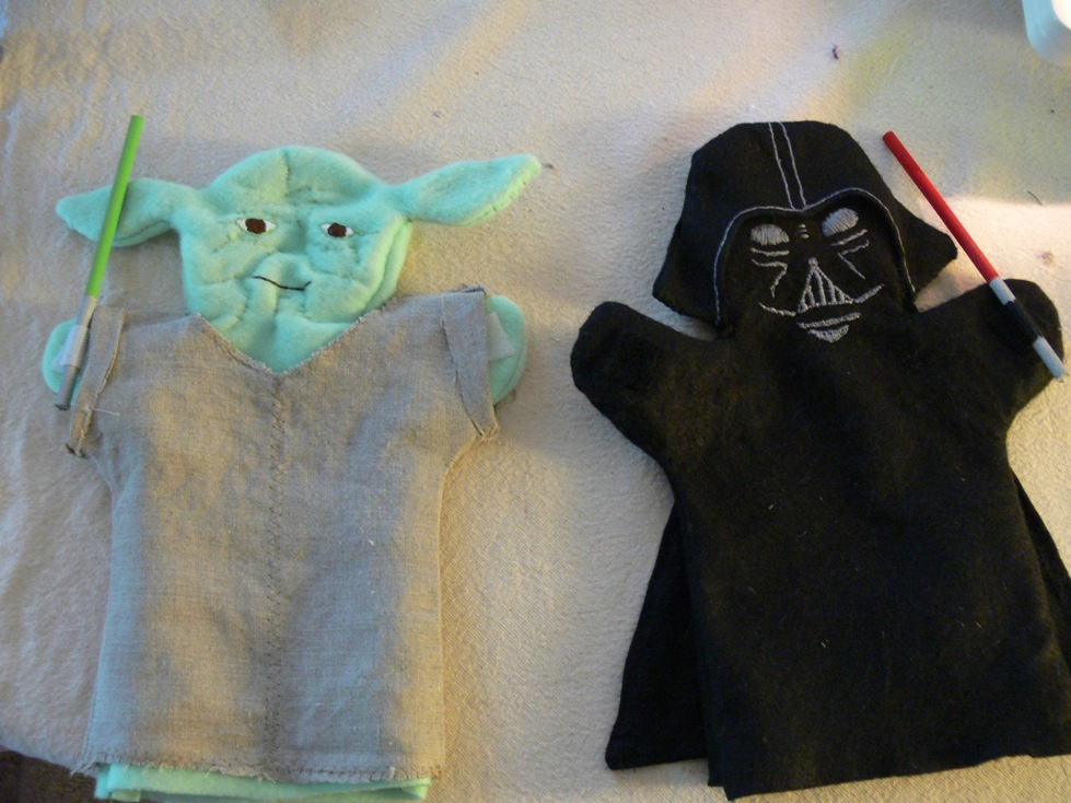 Yoda and Darth Vader puppets