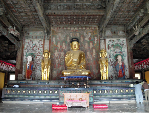 Bronze Buddha statue in a temple
