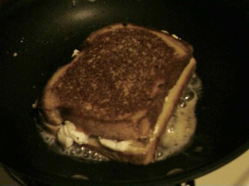 Flip the sandwich over to toast the other side