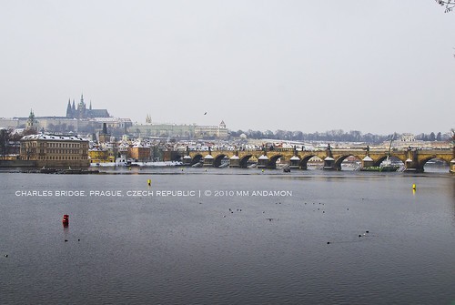 Charles Bridge and Prague Castle (view from Masarykovo nábřeží)
