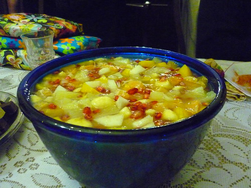 Fruit salad with lots of juice and liqueur