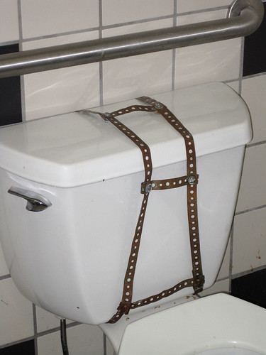 Bondage toilet in bathroom at the Merry Ann's Diner in downtown Champaign