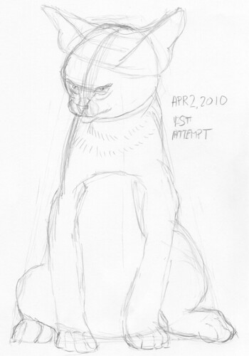 Cute kitten, drawn live on April 2, 2010