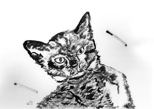 Cute kitten, inked on May 13, 2010