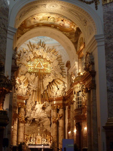 picture of the brightly lit inside of Karlskirche - Vienna
