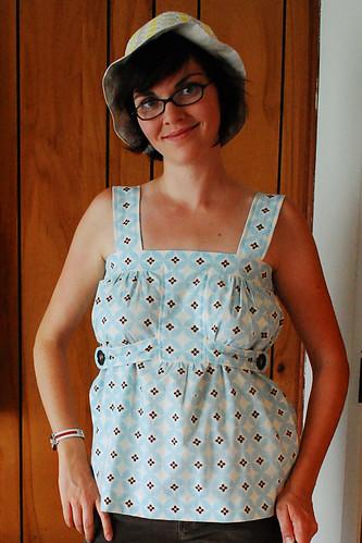 Home-sewn shirt + hat.