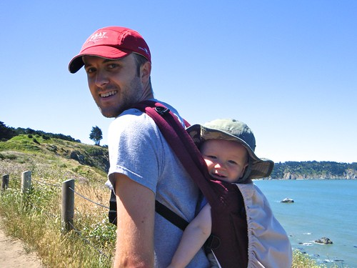 Two sweaty guys hiking the Coastal Trail
