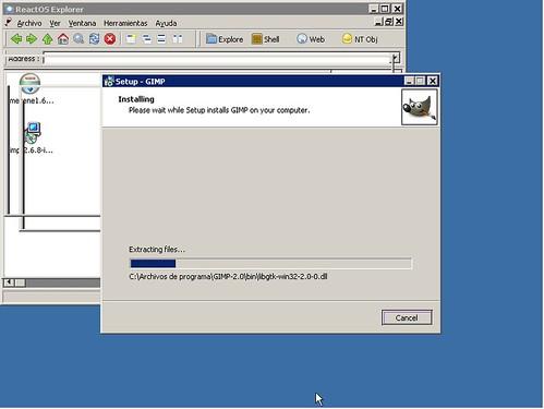 The GIMP instalándose