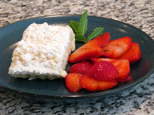 Cognac Marinated Mint Strawberries with Cheese Crumb Coffee Cake