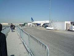 Long Walk to Our JetBlue Plane at LGB