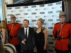 Ricky Gervais and his wife Jane Fallon with RCMP officiers