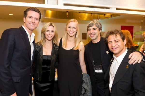 Mayor Gavin Newsom, Jennifer Siebel Newsom, Lucy Southworth, Larry Page, Peter Diamandis