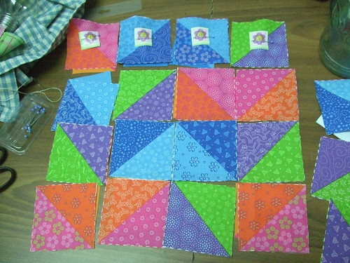 Squares laid out but not yet sewn for 4 by 4 patchwork square