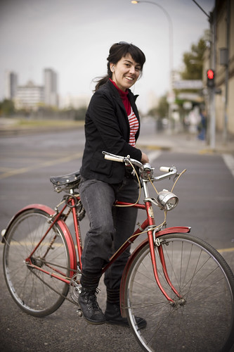 Carolina Ibarra, visual artist, cyclist in Santiago Chile