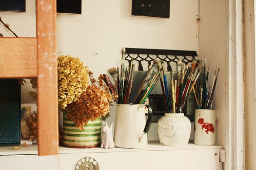 Paintbrushes in Artist's Studio