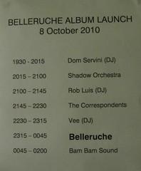 Belleruche album launch running order