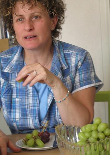 Liz Kessler and grapes