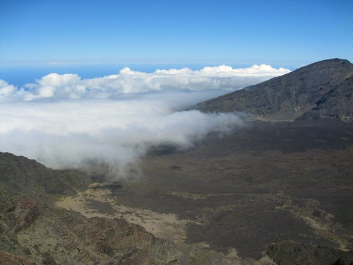 clouds entering the crater