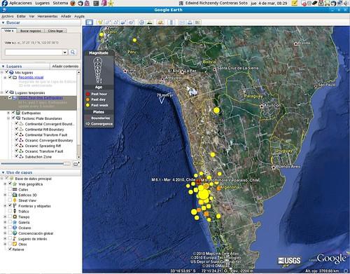 Google Earth - Terremotos en tiempo real