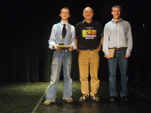 Thomas McPhee, David Johnson, and Tim Ostby at the 2010 Lake Regional for Poetry Out Loud