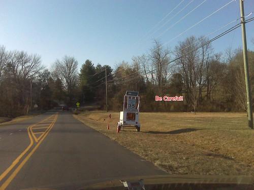 Two Crozet Photos - Speed Reminder & a Pothole