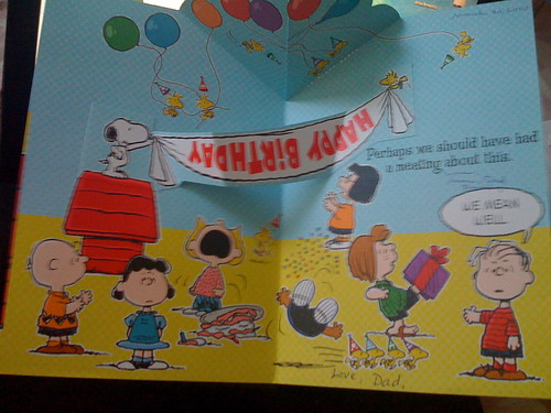 inside of card: the Peanuts gang needs to work on their banner-hanging