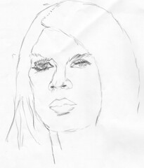 Brigitte Bardot, drawn on April 13, 2010 (pencil sketch)