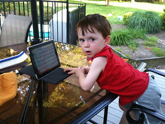 Clark watching Mickey on the iPad