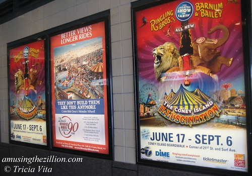 Coney Island Illuscination & Deno's Wonder Wheel posters in Stillwell Station. Photo © Tricia Vita/me-myself-i