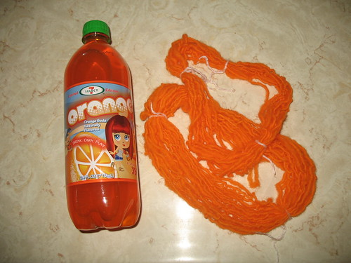 orange yarn with orange soda