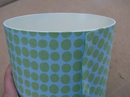 Fabric covered wastebasket Step 3