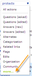 Many options for filtering the Recent Site Activity page.