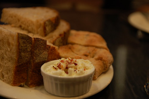 Complimentary bread with cream cheese + chili flakes